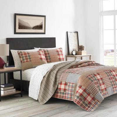 3-Piece Brown Hawthorne Cotton Blend King Quilt Set