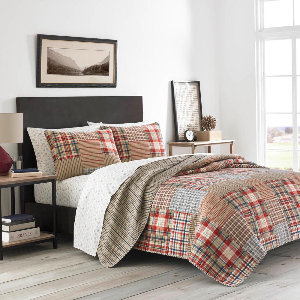 Hawthorne 3-Piece Brown Plaid Cotton Blend Full/Queen Quilt Set