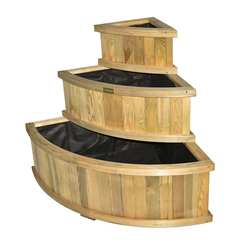English Garden Corner Cascade Wood Planter