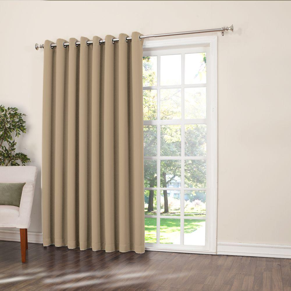 Sun Zero Semi Opaque Taupe Gregory Room Darkening Grommet Top Patio Panel,  100 In