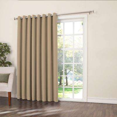 Semi-Opaque Taupe Gregory Room Darkening Grommet Top Patio Panel, 100 in. W x 84 in. L