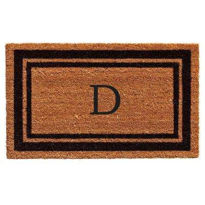 Black Border Door Mat 24 in. x 36 in. Monogram D Door Mat
