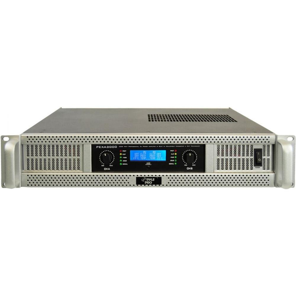 Pyle 19 in. Rack Mount 3000 Watt Professional Power Amplifier with Digital SMT Technology-DISCONTINUED