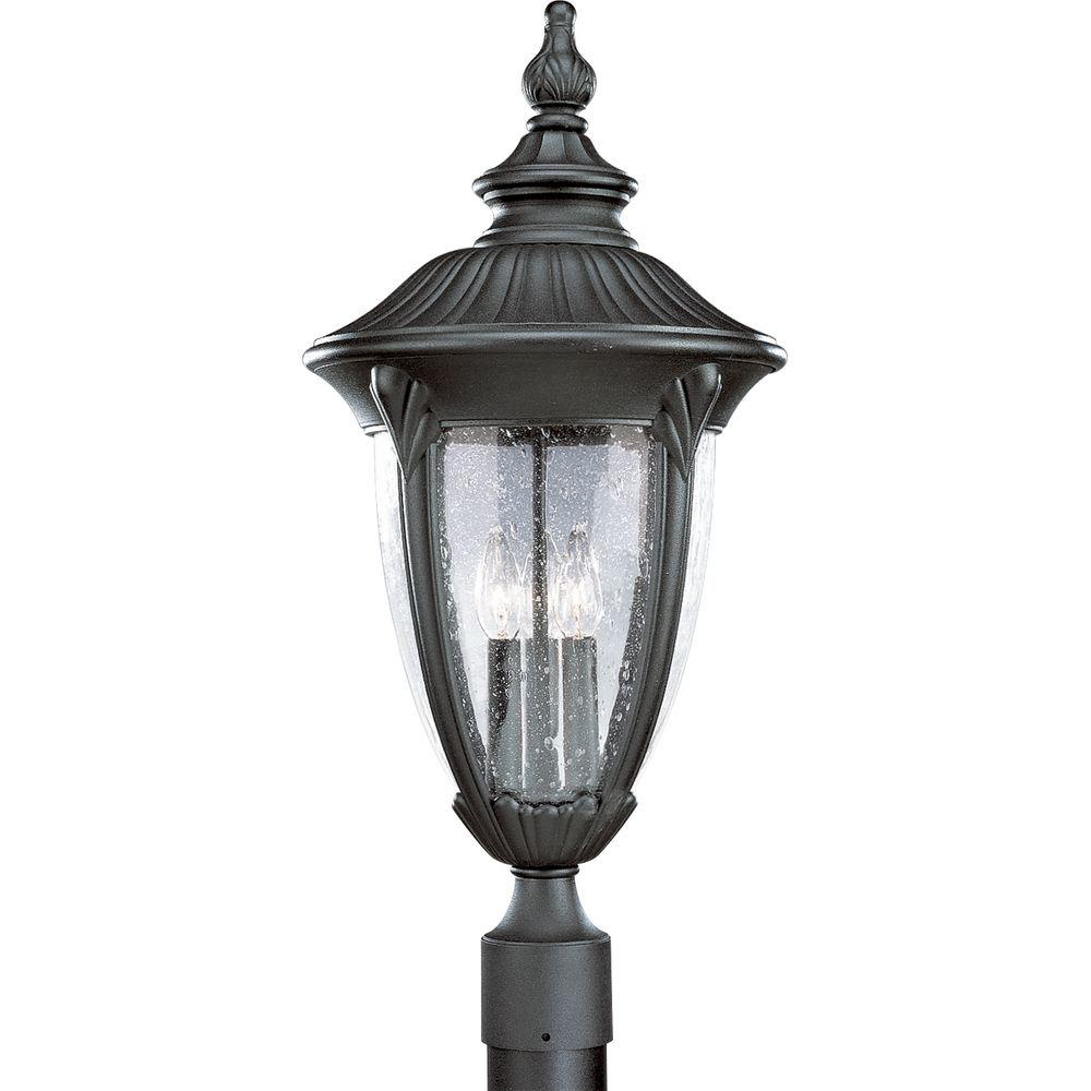 Meridian Collection 3-Light Textured Black Outdoor Post Lantern