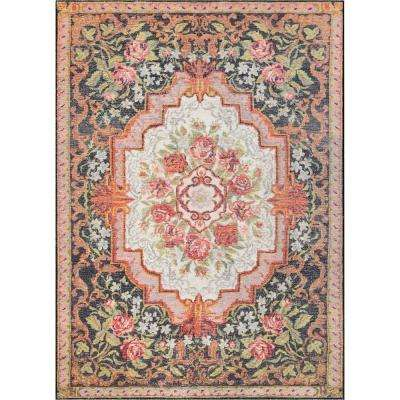 Posh Lateren Eclectic Vintage Rustic Floral Blush/Black 7 ft. 7 in. x 9 ft. 6 in. Area Rug