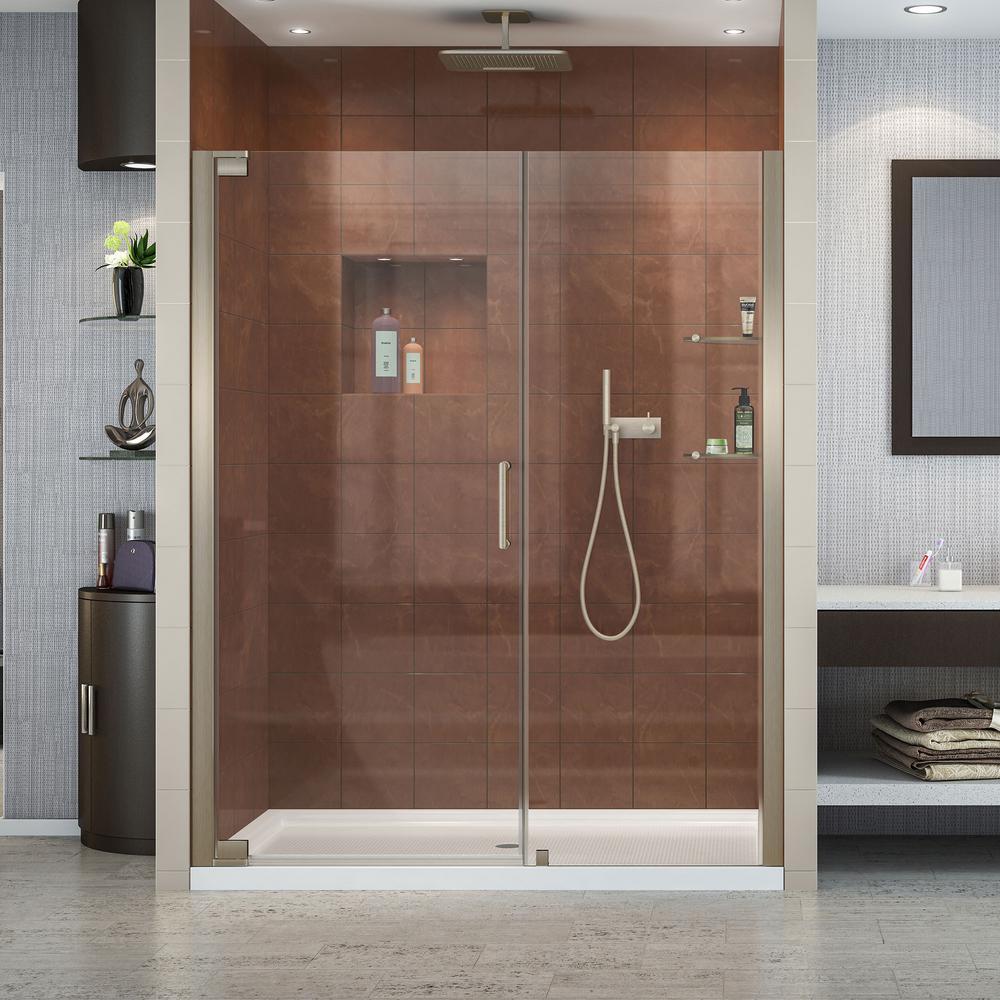 Elegance 60 x 34 x 74.75 Semi-Frameless Pivot Shower Door in Brushed Nickel w/Right Drain White Acrylic Base