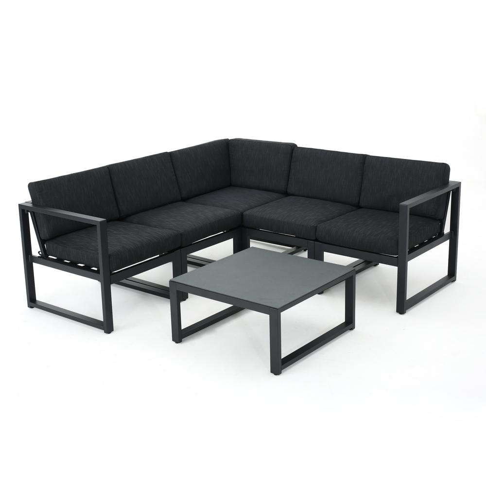 Noble House Jameson 6-Piece Aluminum Outdoor Sectional Set with Dark ...