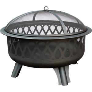 Magnafire 31.5 in. x 31.5 in. x 21.25 in. Round Steel Wood Burning Fire Pit in Black