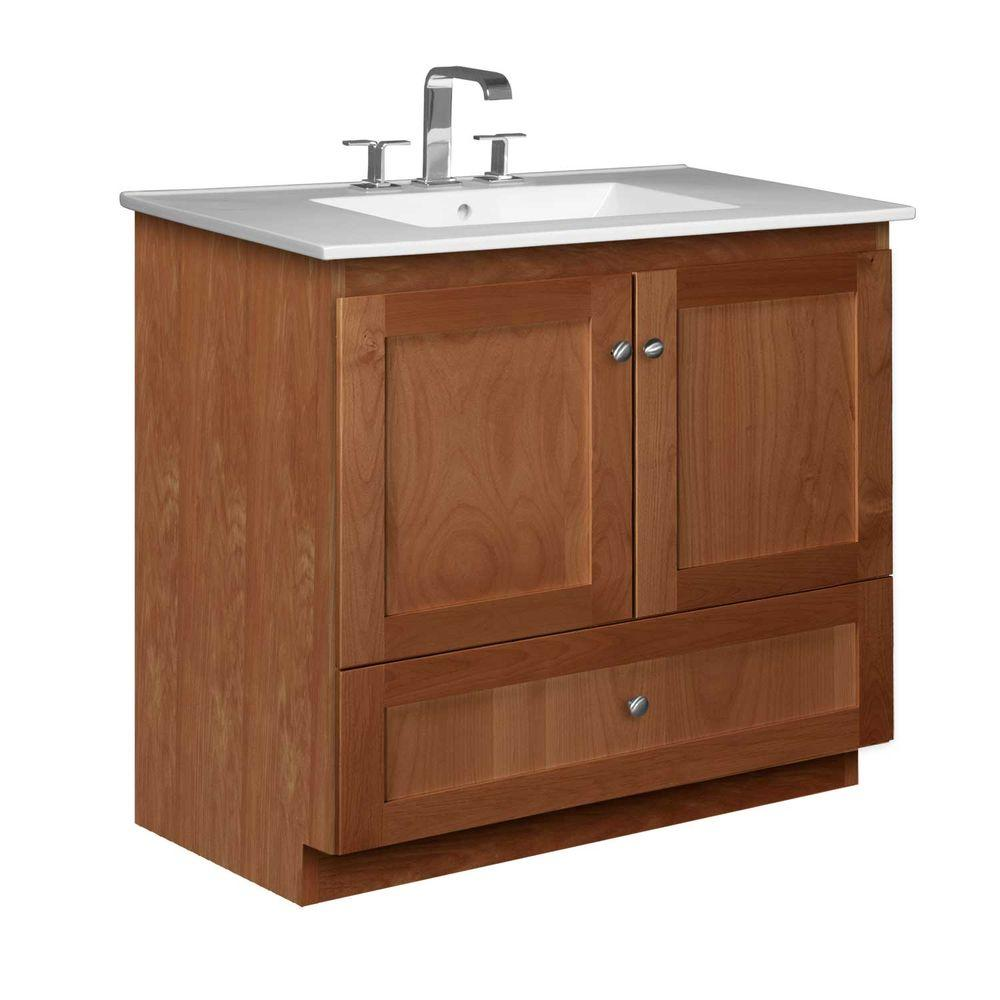 Simplicity by Strasser Shaker 37 in. W x 22 in. D x 35 in. H Vanity with No Side Drawers in Medium Alder with Ceramic Vanity Top in White