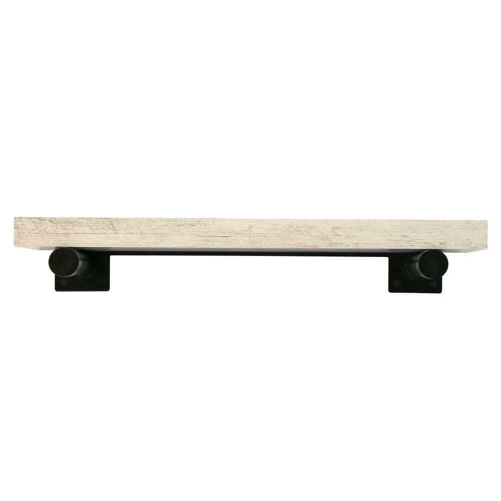 inPlace 24 in. W x 8 in. D x 1.5 in. H Distressed White Wall Mounted Rustic Shelf With Black Brackets