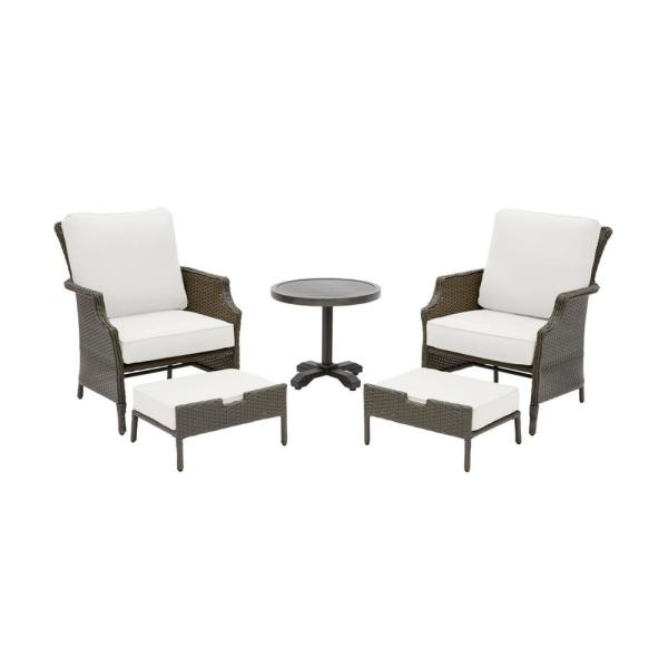Grayson Ash Gray 5-Piece Wicker Outdoor Patio Small Space Seating Set with CushionGuard Chalk White Cushions