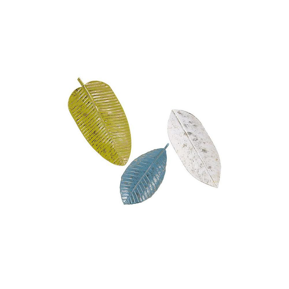 Folha Wall Decorative Sculptures in White, Blue, and Green (Set of