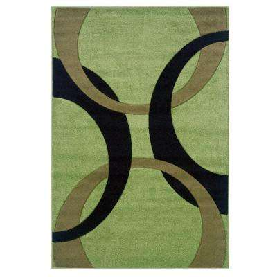 Corfu Collection Lime and Black 5 ft. x 7 ft. 7 in. Indoor Area Rug