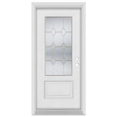 33.375 in. x 83 in. Geometric Left-Hand Brass Finished Fiberglass Mahogany Woodgrain Prehung Front Door Brickmould