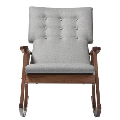 Agatha Mid-Century Gray Fabric Upholstered Rocking Chair