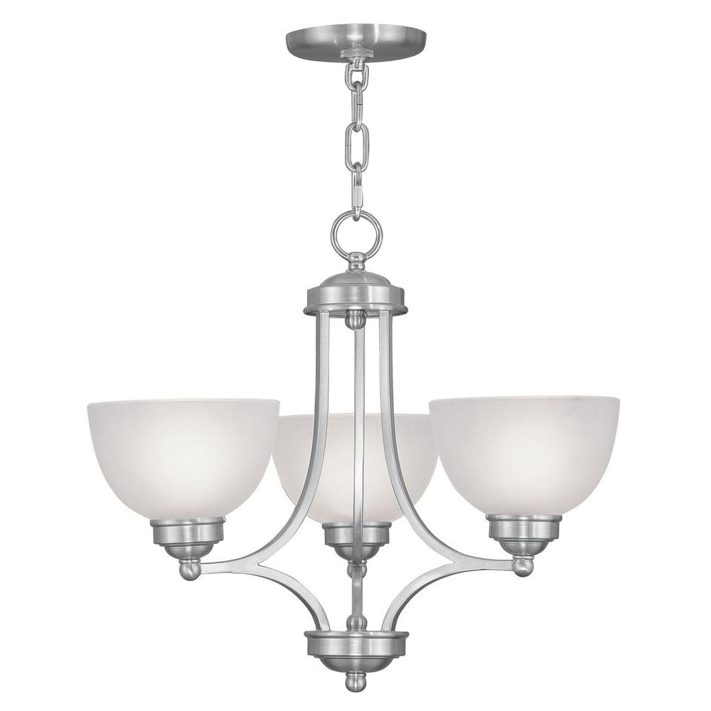 Livex Lighting 3-Light Brushed Nickel Chandelier with Satin Glass Shade