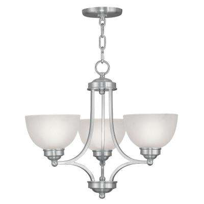 3-Light Brushed Nickel Chandelier with Satin Glass Shade