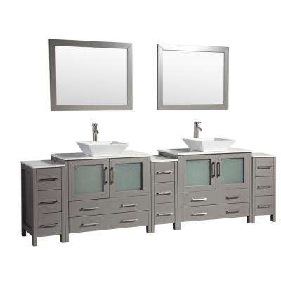 Ravenna 108 in. W x 18.5 in. D x 36 in. H Bathroom Vanity in Grey with Double Basin Top in White Ceramic and Mirrors