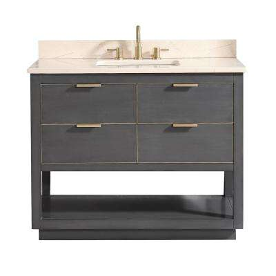 Allie 43 in. W x 22 in. D Bath Vanity in Gray with Gold Trim with Marble Vanity Top in Crema Marfil with Basin