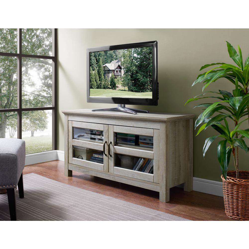 44 in. Wood TV Media Stand Storage Console - White Oak