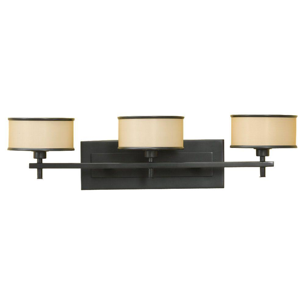 Feiss casual luxury 3 light dark bronze vanity light vs13703 dbz the home depot for Luxury bathroom vanity lighting