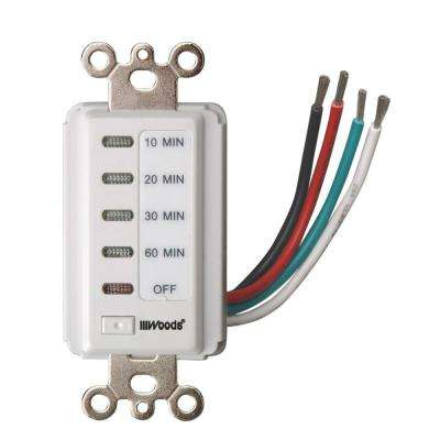 15-Amp 10-20-30-60 Minute In-Wall Countdown Digital Timer Switch, White