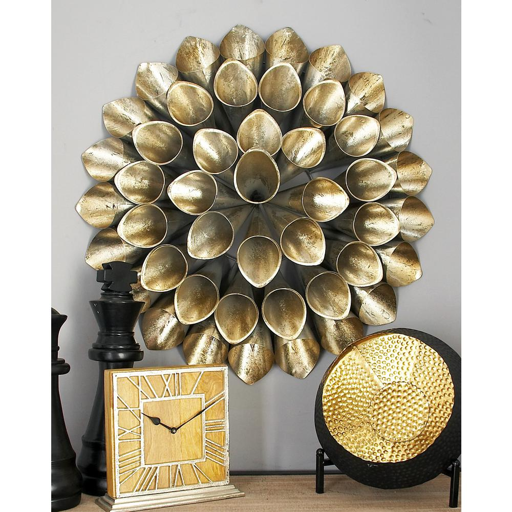 Iron Silver-Finished Slanted Floral Cone Wall Decor