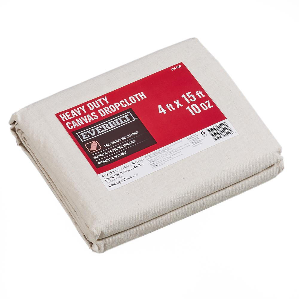 Everbilt 4 Ft x 15 Ft Heavy Duty Canvas Drop Cloth