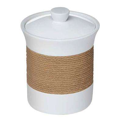 Castaway 10.75 in. Canister in White Resin with Faux Jute Strip