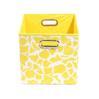 Rusty 10.5 in. x 10.5 in. x 10.5 in. Giraffe Folding Yellow Fabric Storage Bin