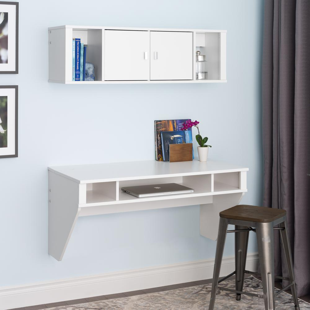 Prepac Designer 2 Piece White Laminate Office Suite
