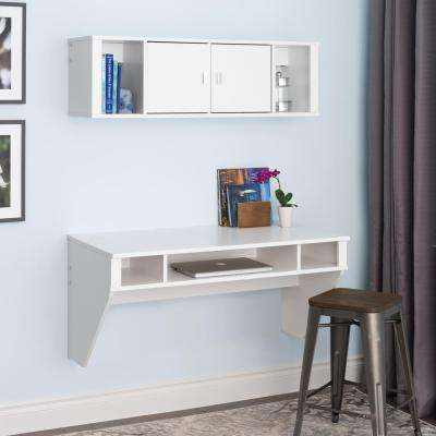 Designer 2-Piece White Laminate Office Suite