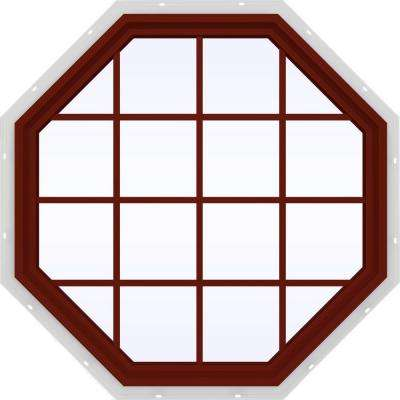 47.5 in. x 47.5 in. V-4500 Series Fixed Octagon Geometric Vinyl Window with Grids in Red