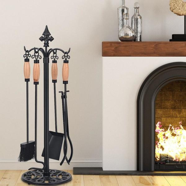 """Tosnail Wood Bellows Fireplace 15.5/"""" x 6.5/"""" Brown Color Pokers Tools Sets Stoves"""