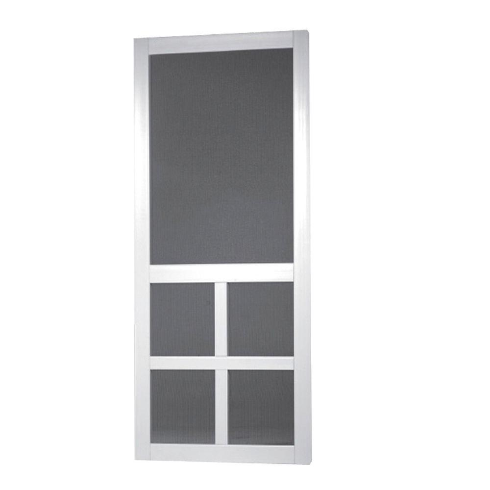Beautiful Screen Tight 36 In. X 80 In. Lafayette Vinyl White Wide Stile Screen Door