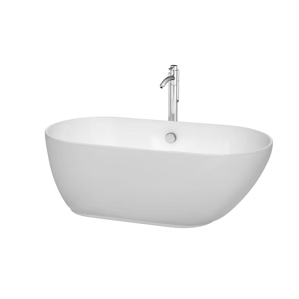 Melissa 60 in. Acrylic Flatbottom Center Drain Soaking Tub in White