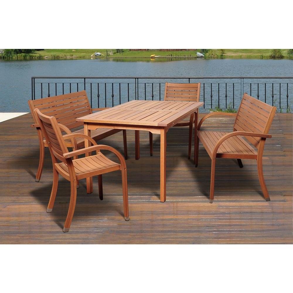 Lambert 5-Piece Eucalyptus Rectangular Patio Dining Set
