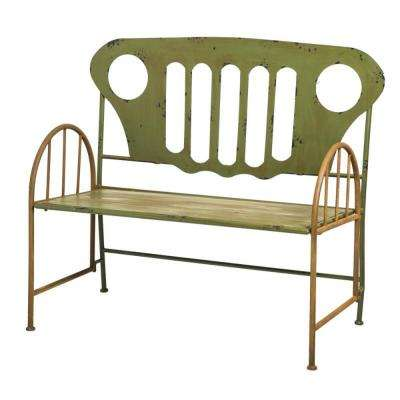 45 in. Re-Purposed Metal Outdoor Truck Bench