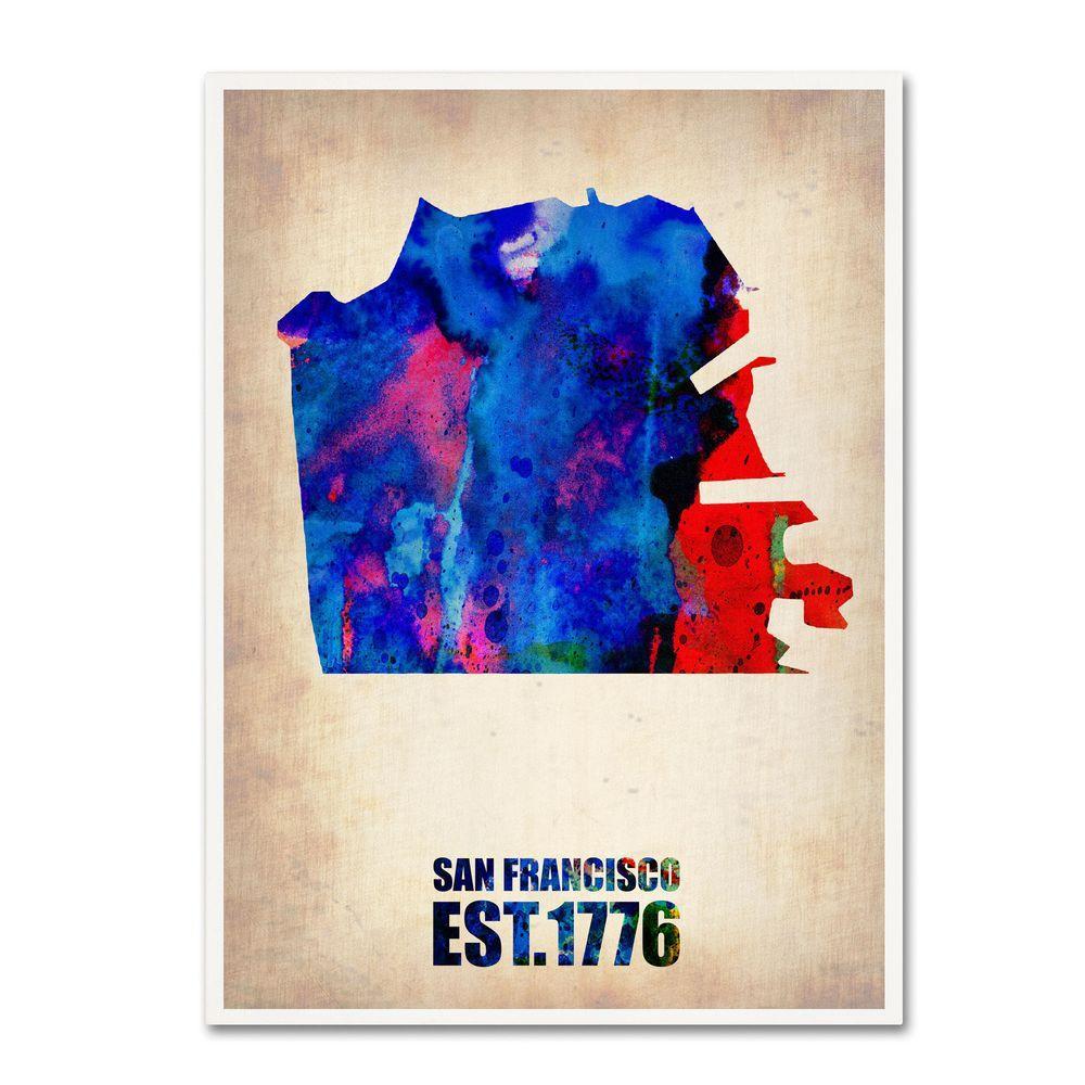Trademark Fine Art 32 in. x 24 in. San Francisco Watercolor Map Canvas Art