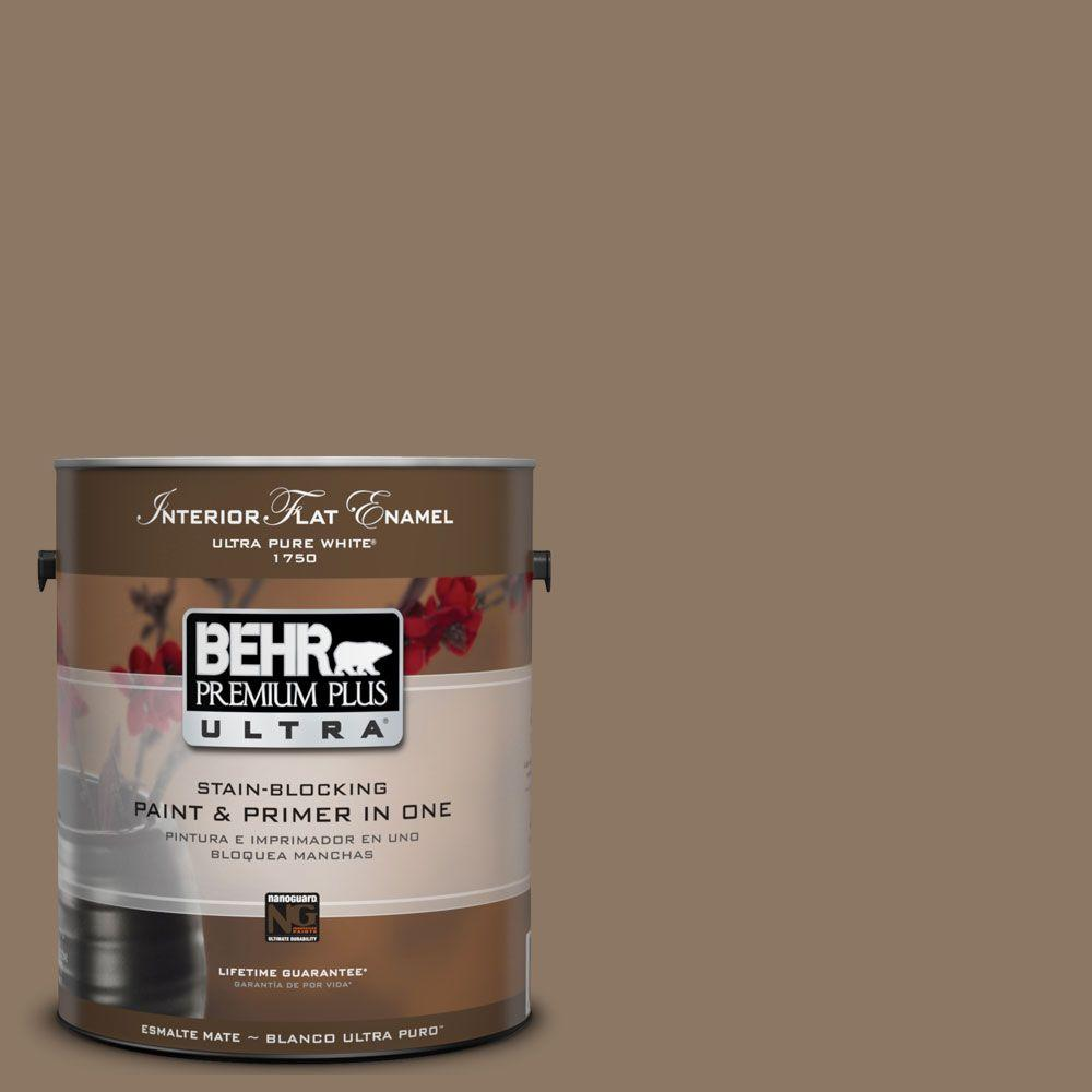 BEHR Premium Plus Ultra 1-Gal. #UL140-5 Coconut Shell Interior Flat Enamel Paint
