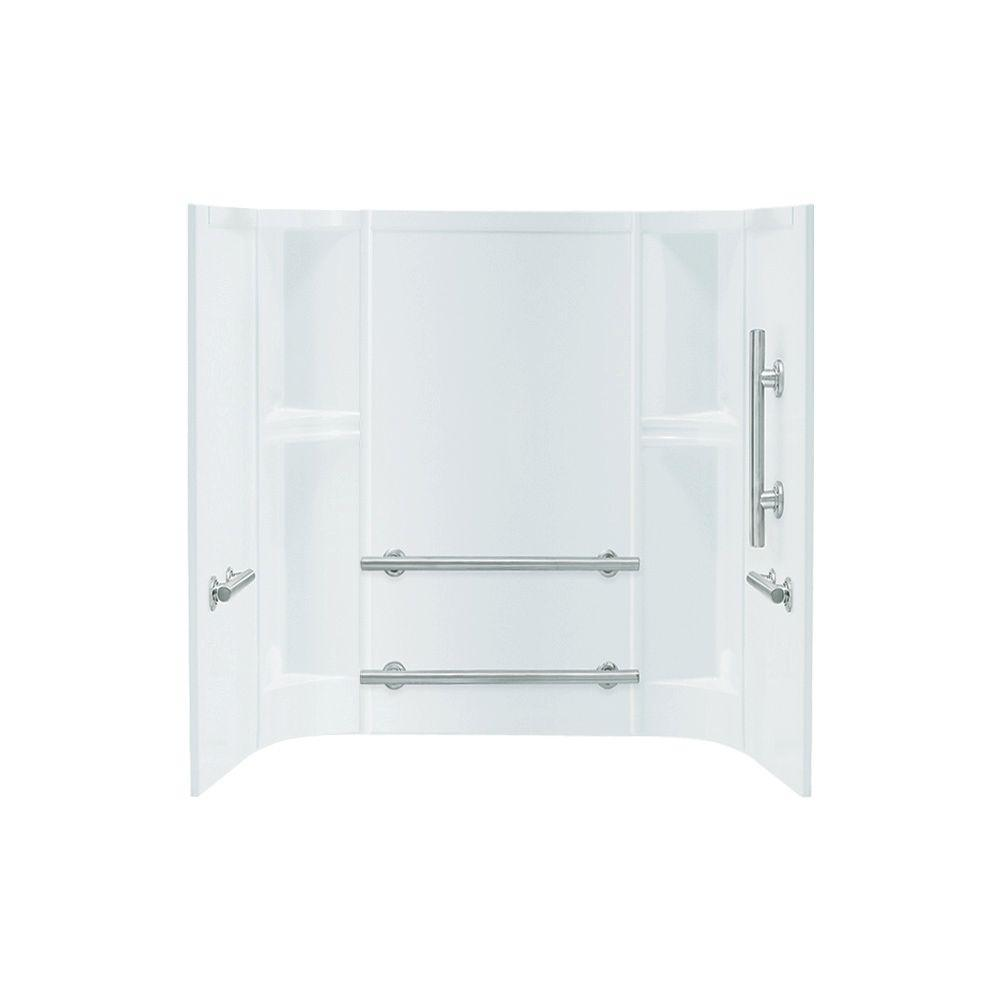 STERLING Accord 60 in. x 30 in. x 55 in. 3-piece Direct-to-Stud Right-Hand Shower Wall Set in White