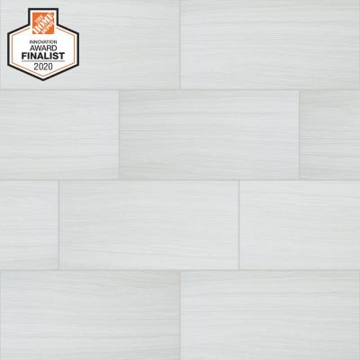 QuicTile 12 in. x 24 in. Tower White Matte Porcelain Locking Floor Tile (9.6 sq. ft. / case)