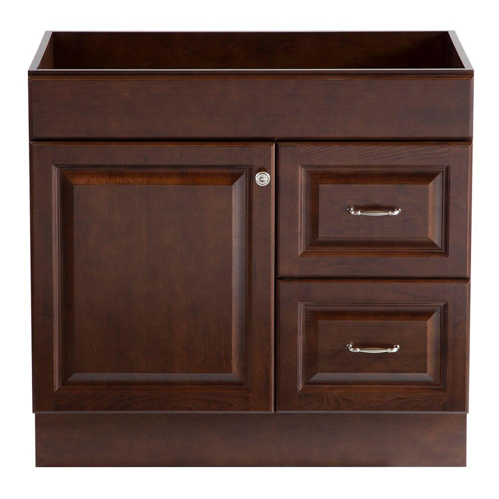 Home Decorators Collection Dowsby 36 in. Vanity Cabinet Only in Cognac