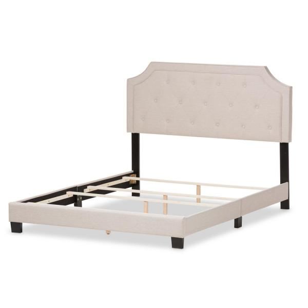 Baxton Studio Willis Beige Fabric Upholstered King Bed 28862-7462-HD