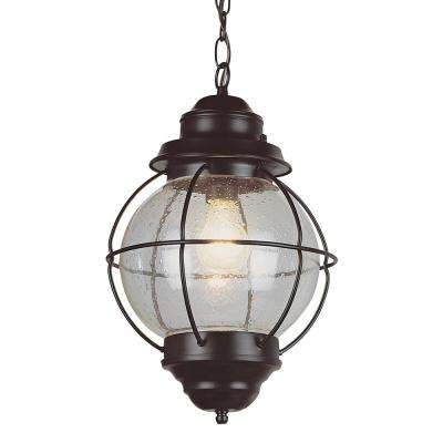Lighthouse 1-Light Outdoor Rustic Bronze Hanging Lantern with Seeded Glass