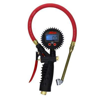 Pro Digital Pistol Grip Inflator Gauge with Dual Head Chuck and 15 in. Hose