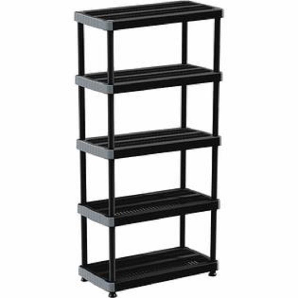 RIMAX 75 in. H x 36 in. W x 18 in. D. 5 Shelf Plastic Storage Shelving Unit in Black