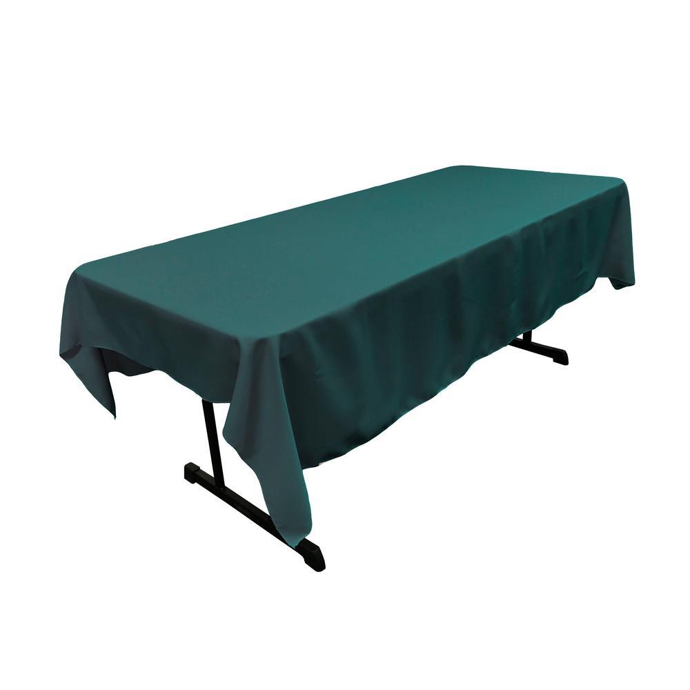 Polyester Poplin 60 in. x 90 in. Dark Teal Rectangular Tablecloth