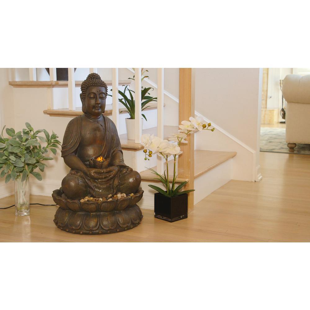 "Alpine Corporation 33"" Tall Indoor/Outdoor Meditating Buddha Water Fountain Yard Décor"