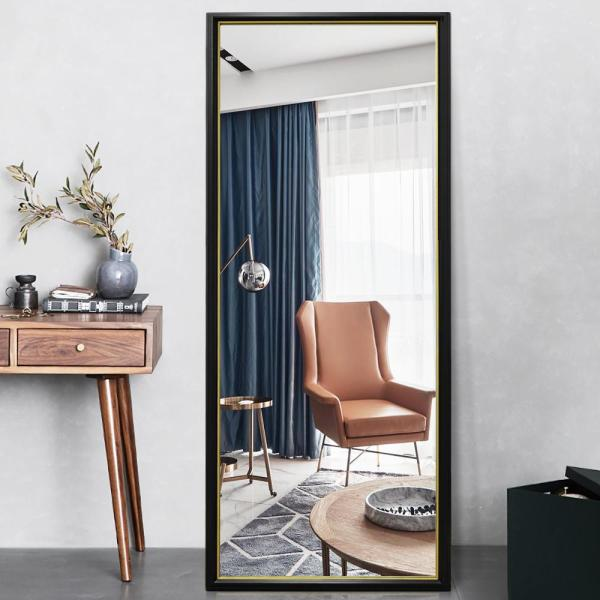 65 in. x 22 in. Modern Style Rectangle Mirror Framed Black Frame with Gold Edge Standing Mirror Full Length